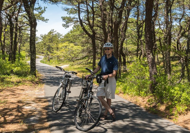David pauses along the Province Lands bike path, Cape Cod.