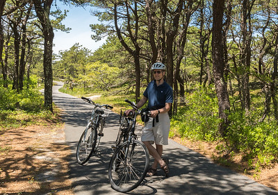 David pauses along the Province Lands bike path, Cape Cod.