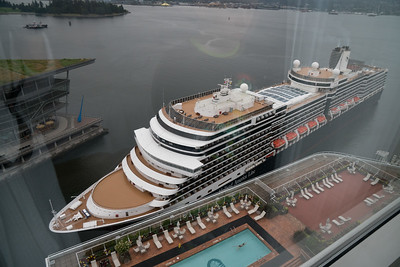 Nieuw Amsterdam docking at Canada Place...viewed from our room at the Pan Pacific Hotel