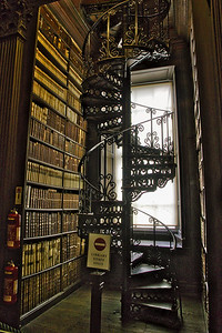 Long Library at Trinity College Circular Stairway, Dublin Trinity College, Dublin, Ireland