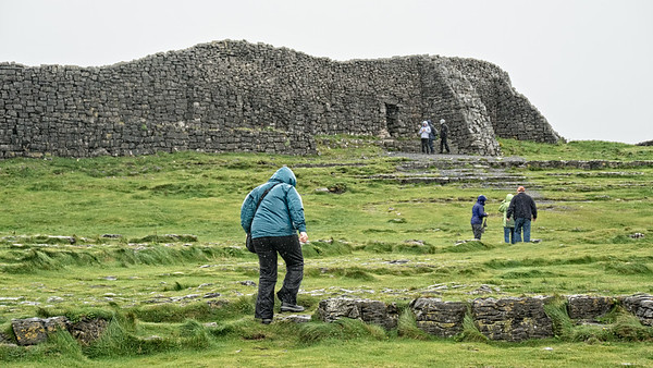 At Dun Aengus in the rain and wind, Inis Mor, Aran Isles, Ireland