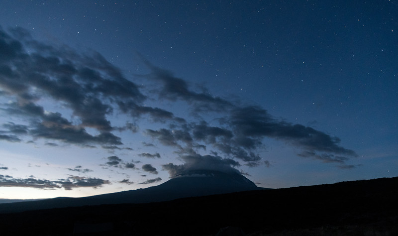 An early-morning view of Kibo from Shira I campsite.