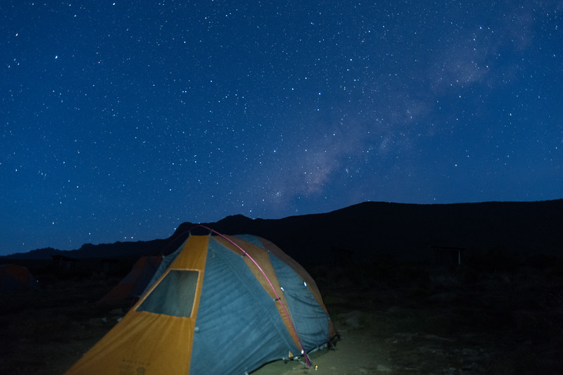 Early morning view of the Milky Way over our camp at Shira I. In this shot I experimented with light-painting the tent.
