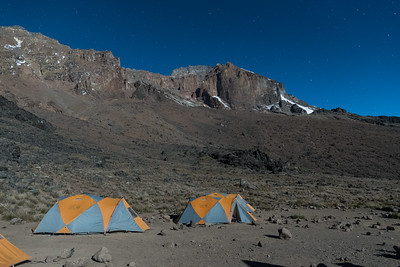 Bright moonlight before 5am at Lava Tower campsite.
