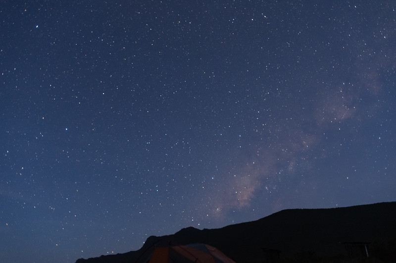 Early morning view of the Milky Way over our camp at Shira I. In this shot I show more of the sky.