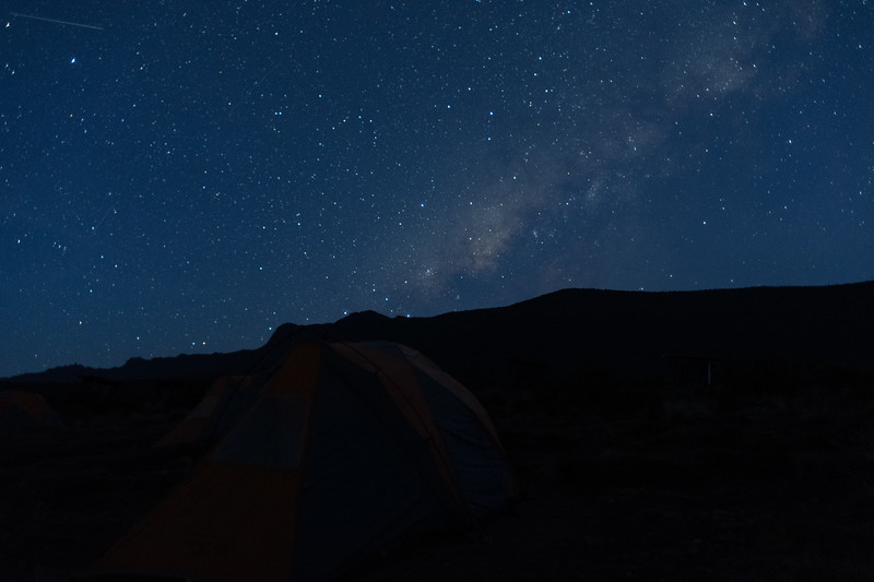 Early morning view of the Milky Way over our camp at Shira I.  This shot captured a shooting star!