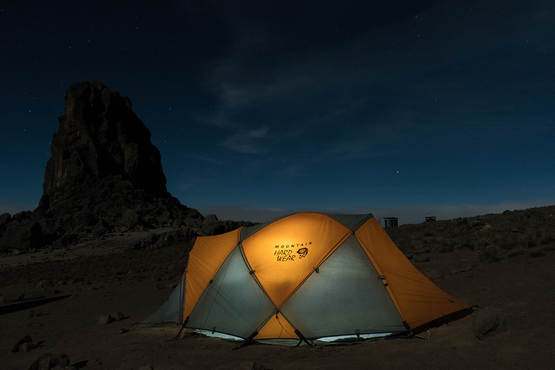 Stars and moonlight at Lava Tower campsite.