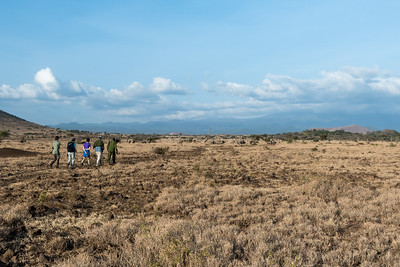 Our group takes a walking safari at Ndarkwair Ranch, Tanzania.