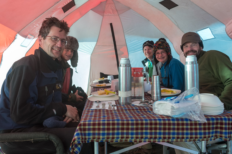 Breakfast in the dining tent.