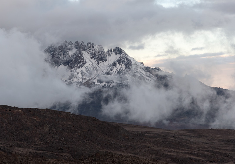 A glimpse of Mawenzi's summit, from Barafu camp, after a long day ascending Kilimanjaro.