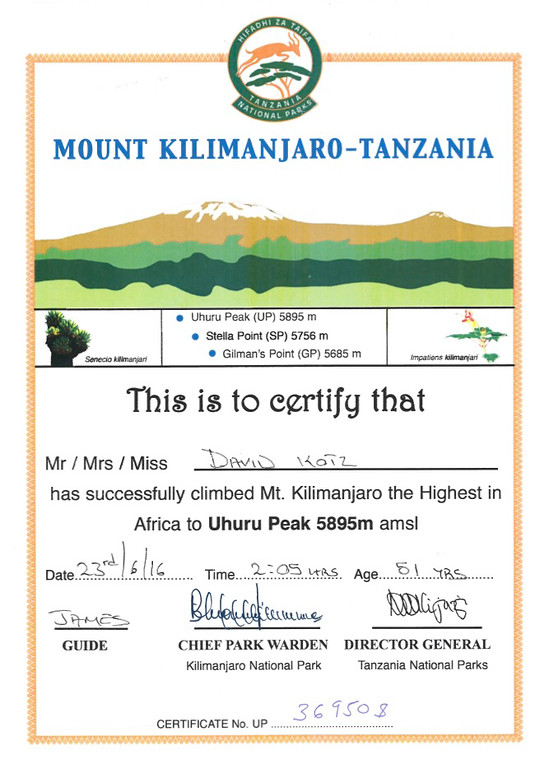 David's certificate for climbing the peak.