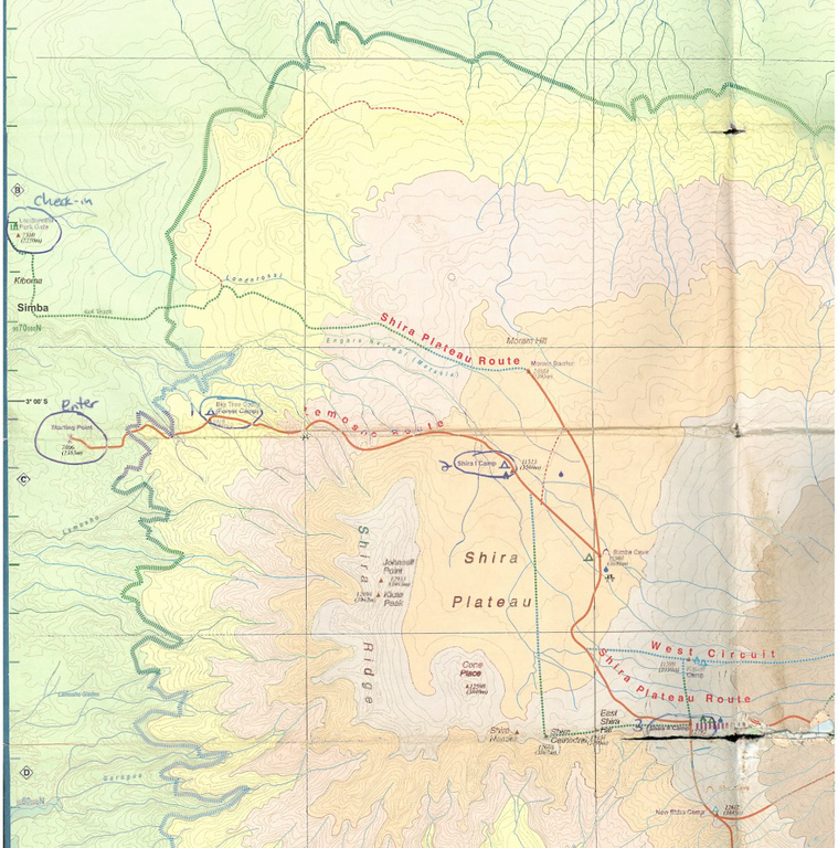 Topo map for the western slopes of the mountain, showing our entry point and first three camps.