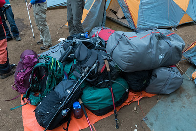 Baggage for five trekkers!   We carry the daypacks; porters carry the duffle bags.