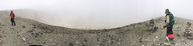 George and Ken at the rim of the Ash Pit, with a mist that may be (in part) caused by the fumes from the pit.
