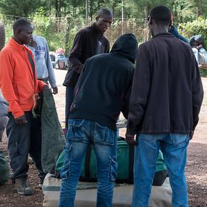 Weighing our bags at Londorosi Gate, Kilimanjaro National Park