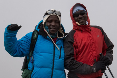 James and George at the edge of the Ash Pit, Kilimanjaro.