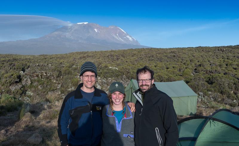 David Kotz '86, Leah Feiger '14, and Ken Kaliski '85 at the Shira Plateau camp, Mount Kilmanjaro, Tanzania (June 2016).