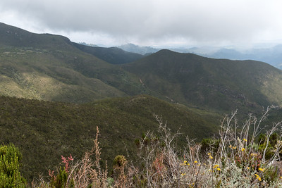 A look back at the valley we traversed and the lowlands beyond