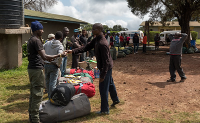 Porter check-in at Londorosi Gate, Kilimanjaro National Park