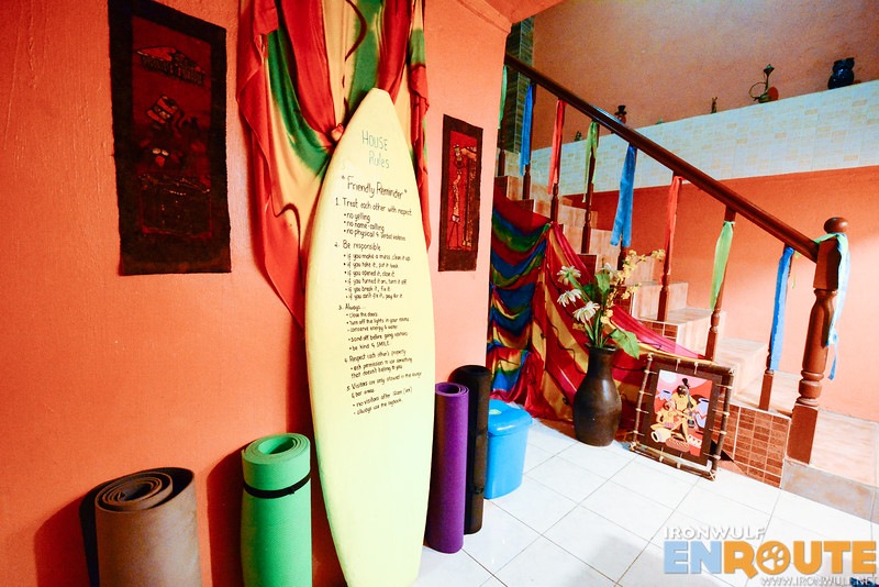 House rules and yoga mats for rent