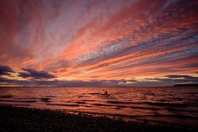 Sunset Kayaker, Birch Bay, Washington