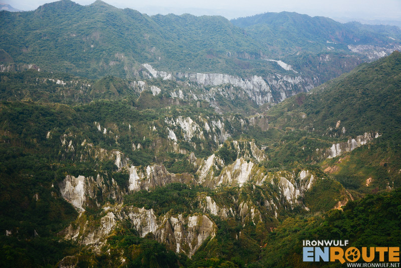 Rugged landscape of Mt Pinatubo on our approach