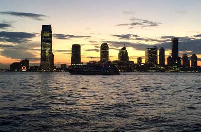 The Hudson river after sunset.