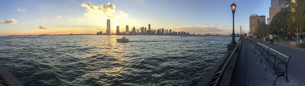 Panorama of the Hudson river at sunset.