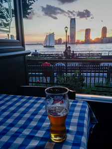 A nice spot for dinner along the Hudson River at sunset.