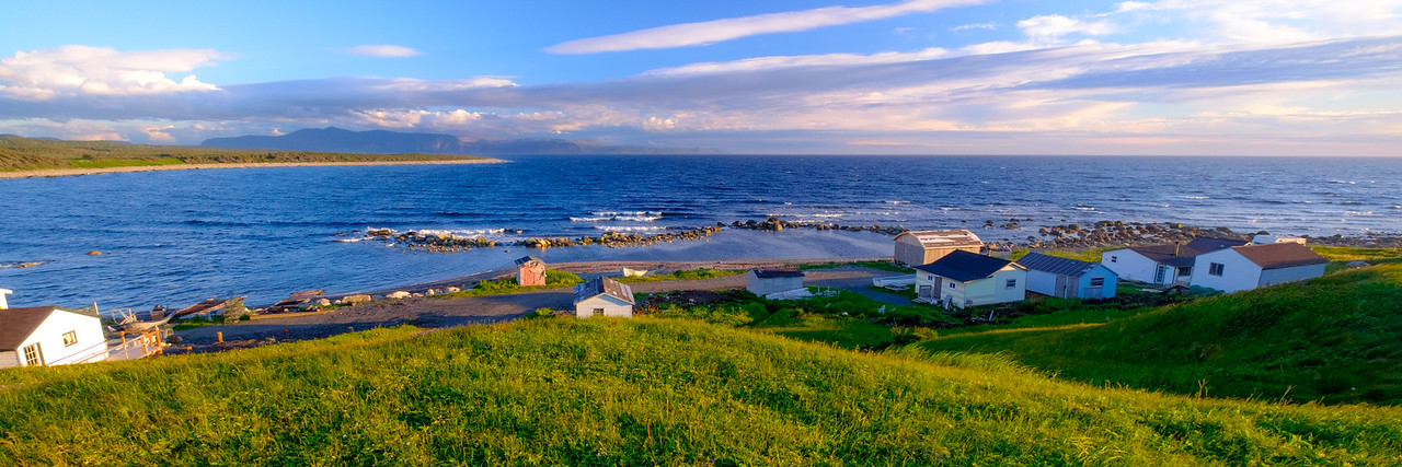 Coastal fishing outpost at Green Point within Gros Morne park and looking at the Long Range mountains of the southern area of the park.