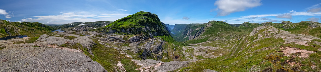 Camera panoramic view of the head of Western Brook Pond fjord.