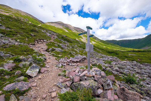 Part way up Gros Morne Mountain where the lollipop loop trail around the top and back of the mountain rejoins the main trail.