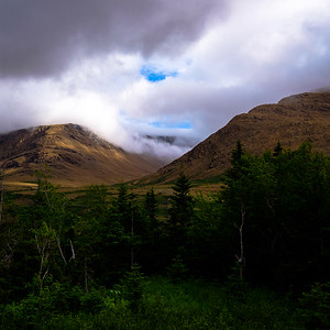 Rainclouds part over the Tablelands area of Gros Morne National Park.
