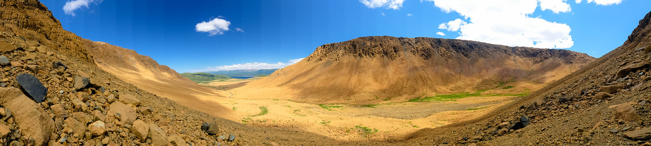 Camera panoramic view of the main valley in the Gros Morne National Park tablelands.