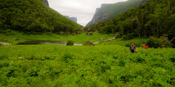 Hiking up the head of Western Brook Pond fjord towards the famous Gros Morne viewpoint.