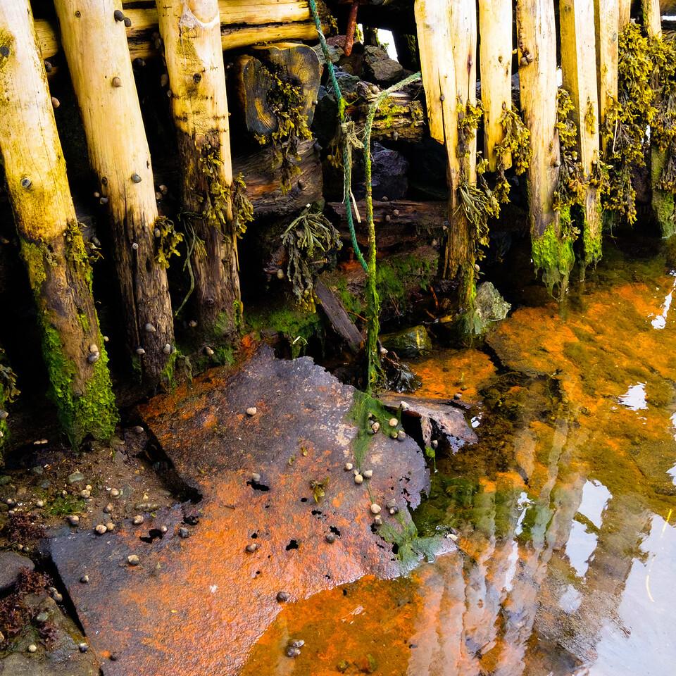 Colourful debris as part of dock casements in Twillingate Newfoundland.