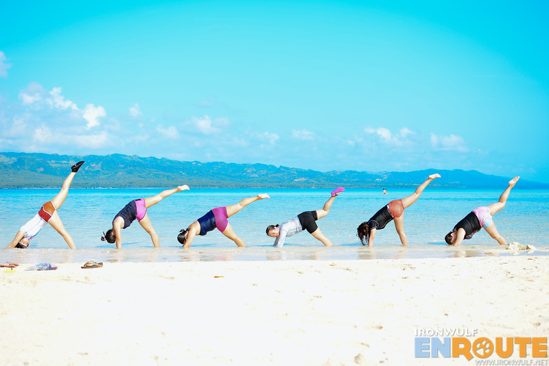 Yoga fun at the sandbar