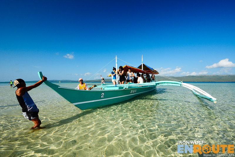 Arriving at the sandbar