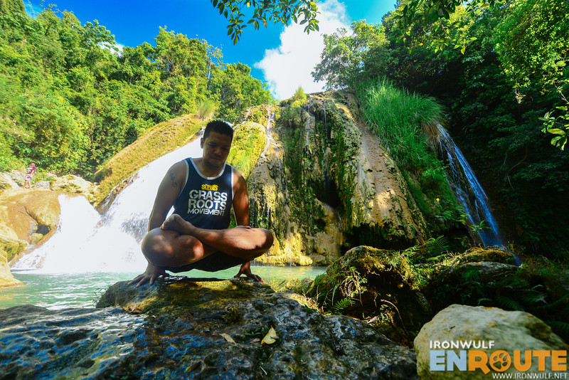 Finding a bit of time to practice some yoga lifts (Utthita Padmasana) at the falls