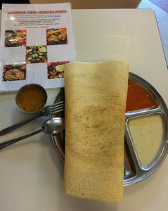 Masala Dosa - Madras New Woodlands restaurant, Sinagpore.