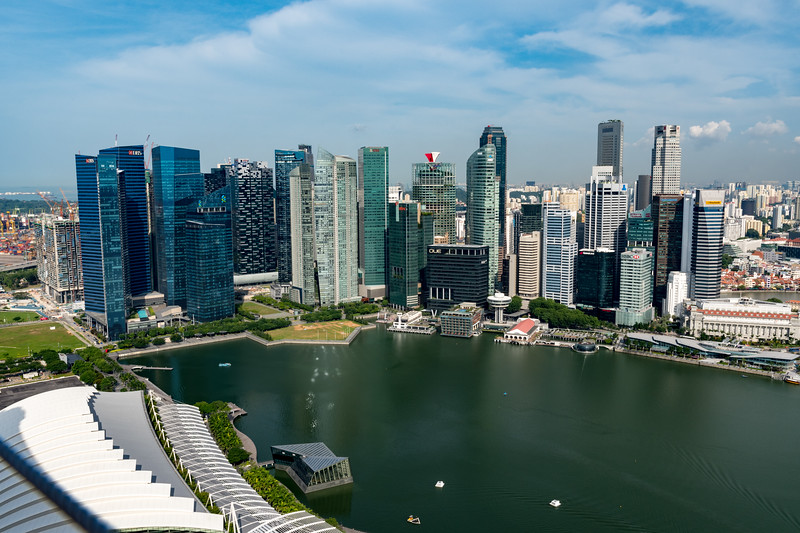 Central business district, seen from observation deck of Marina Bay Sands hotel, Singapore.