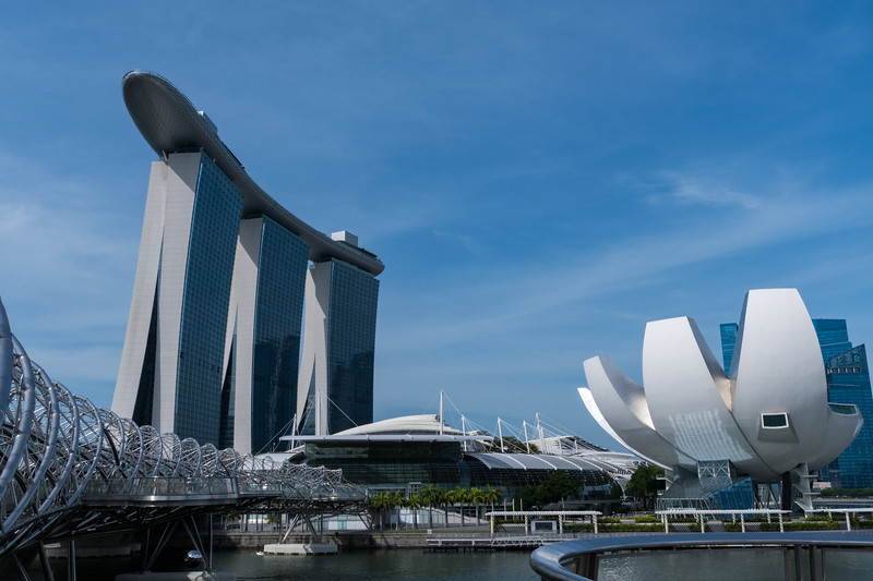 Marina Bay Sands hotel, with Helix bridge in foreground. Singapore.
