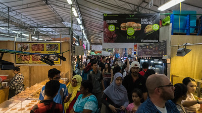 Crowds and food at the Ramadan festival, Singapore.