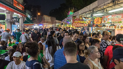 Crowds at the Ramadan festival, Singapore.