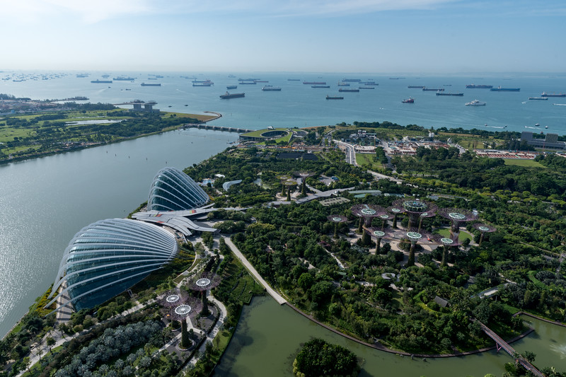 Marina Gardens seen from observation deck of Marina Bay Sands hotel, Singapore..