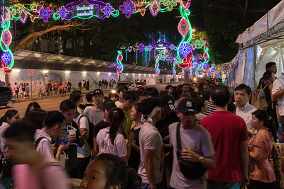 The queue for watermelon treats, Ramadan festival, Singapore.