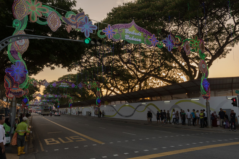Sunset, and the Ramadan festival begins;  Singapore.