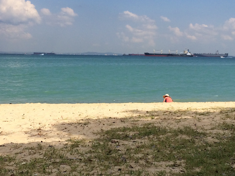 Beach at Marina Cove - East Coast Park - Singapore (note all the idle oil tankers)