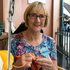 Lesley having coffee at the teapot cafe where they supply knitting for tea cosys