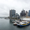 A rainy day in Sydney.  View from the Pyrmont Bridge Darling Harbour